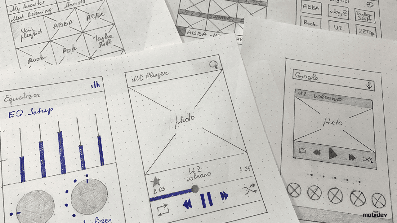 Sketching stage of UI/UX design process