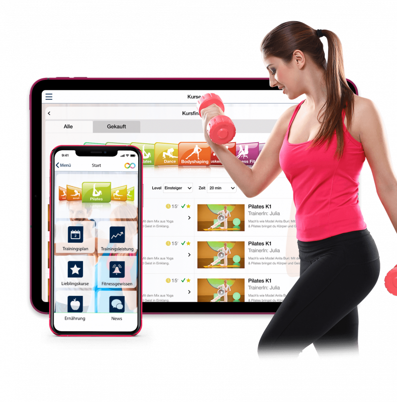 The application features 400 fitness HD video courses